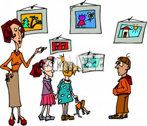 And Students Reviewing An Art Exhibit   Royalty Free Clipart Picture