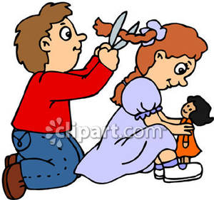 Bad Little Boy Cutting A Little Girls Hair   Royalty Free Clipart