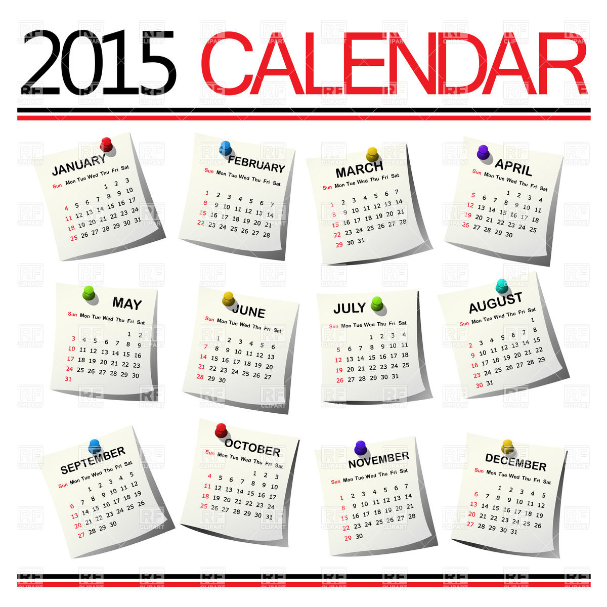 Calendar For 2015 Year For All Months Calendars Layouts Download