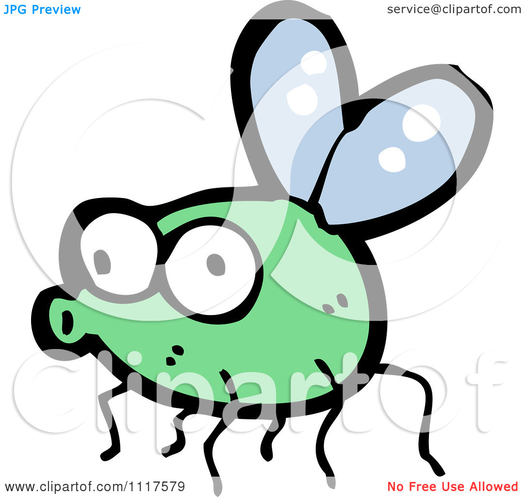Cartoon Of A Green House Fly 6   Royalty Free Vector Clipart By
