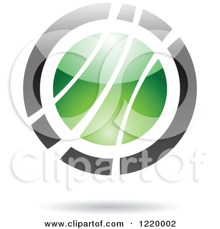 Clipart Of A Green And Black Sphere 6   Royalty Free Vector