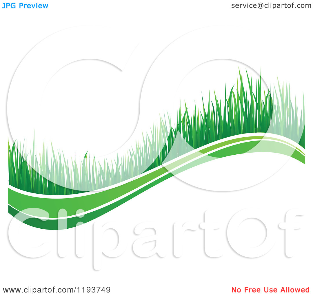 Clipart Of A Green Grass Wave 6   Royalty Free Vector Illustration By