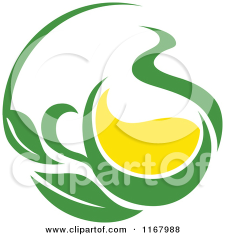 Clipart Of A Green Tea Cup With Lemon And Leaves 6   Royalty Free