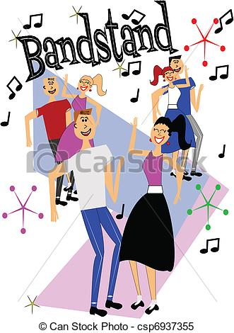 Clipart Vector Of Bandstand Dancers   Dancers From 50s Era Dancing In
