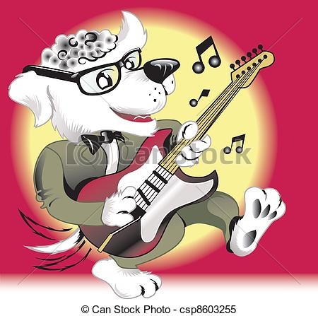 Clipart Vector Van Rock N Roll Dog   50s Era Rock N Roll Dog