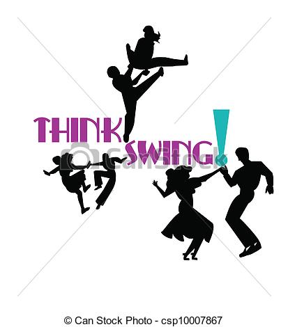 Dancers From The 50s Era In Silhouette Csp10007867   Search Clipart