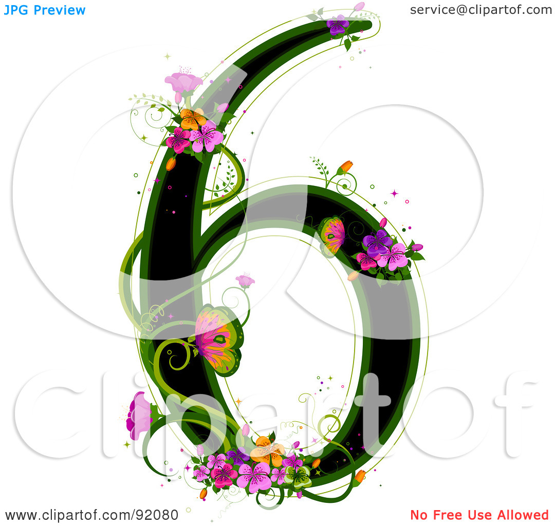 Free  Rf  Clipart Illustration Of A Black Number 6 Outlined In Green