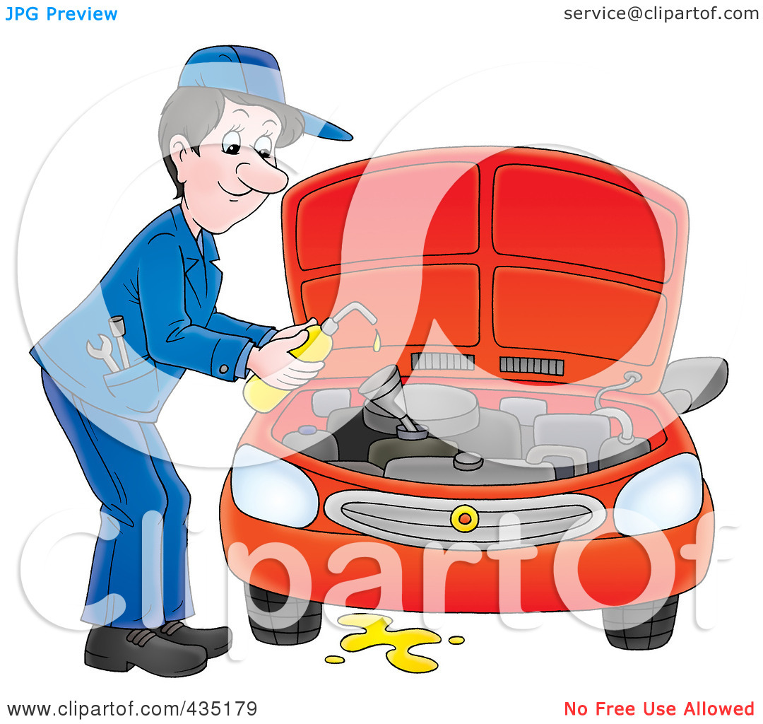 Free  Rf  Clipart Illustration Of A Car Mechanic Changing The Oil