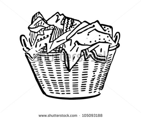 Laundry Basket   Retro Clipart Illustration   Stock Vector