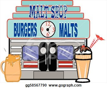 Of Fifties Era Malt Shop On White Vector  Vector Clipart Gg58567790