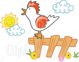 On A Fence On A Farm Early In The Morning Clipart Illustration Jpg