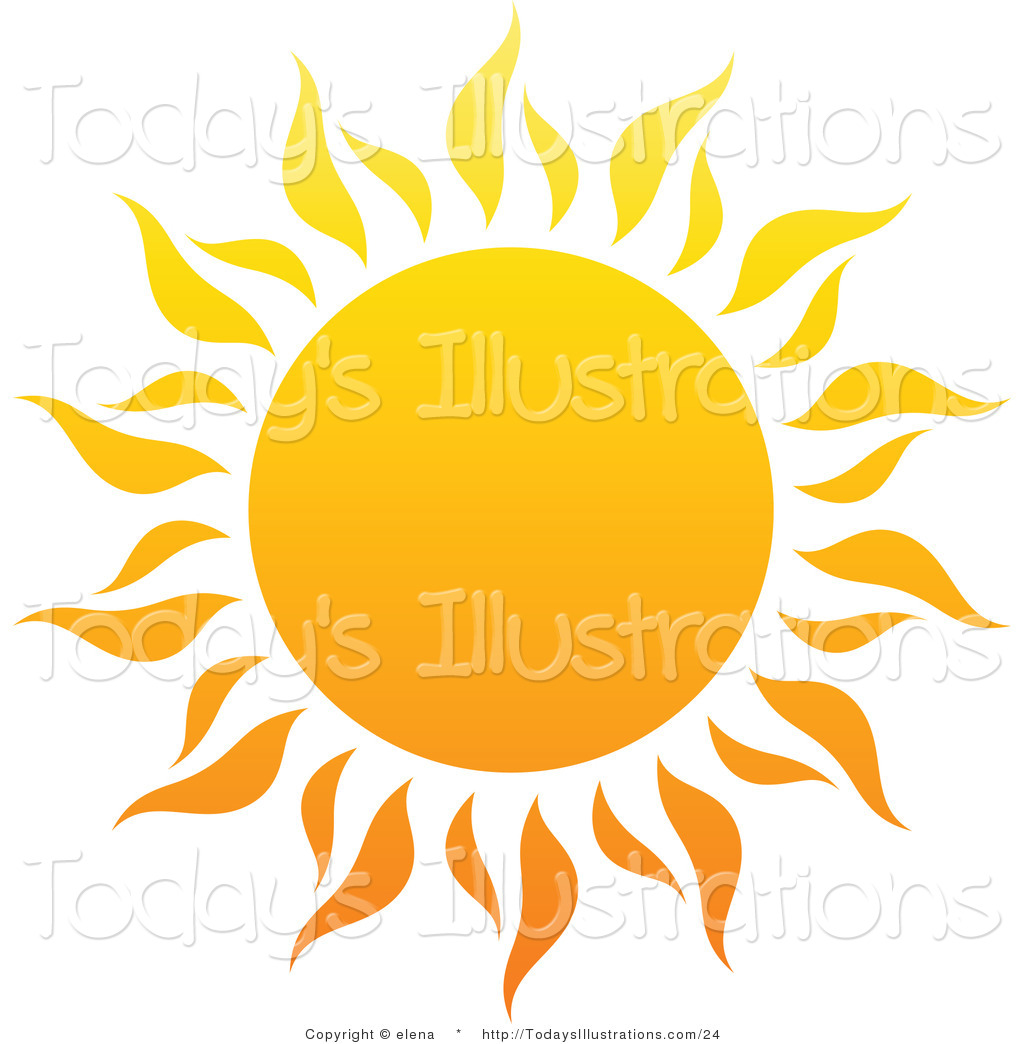 Vector Clipart Of A Hot Summer Sun With Fiery Rays 1 On White By Elena