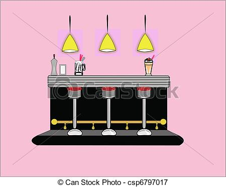 Vector   Interior Of 50 S Era Diner   Stock Illustration Royalty Free