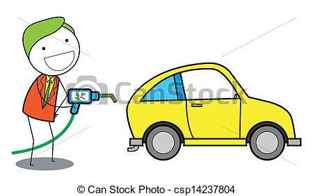 Vector   Man Using Gas Oil For Car   Stock Illustration Royalty Free