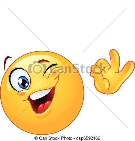 Vector Of Winking Emoticon Showing Ok Sign Csp6592166   Search Clipart