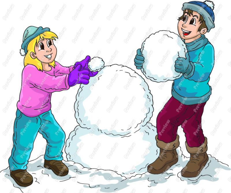 Boy And Girl Building A Snowman Clip Art   Snow Man   Images