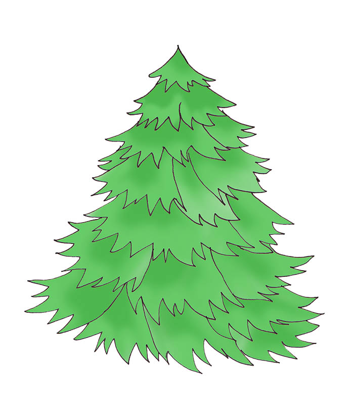 Christmas Tree Clip Art Natural Tree Without Decorations Jpg