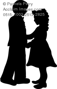 Clip Art Image Of Litte Kids Formal Dancing Silhouette   Acclaim Stock