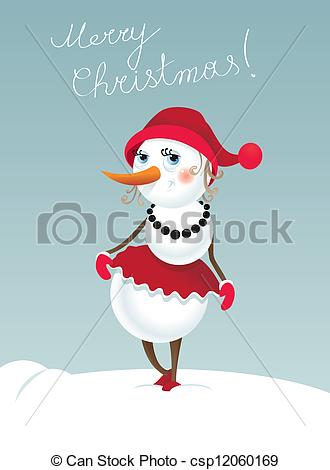 Clip Art Vector Of Christmas Snowman Girl   Christmas Background With