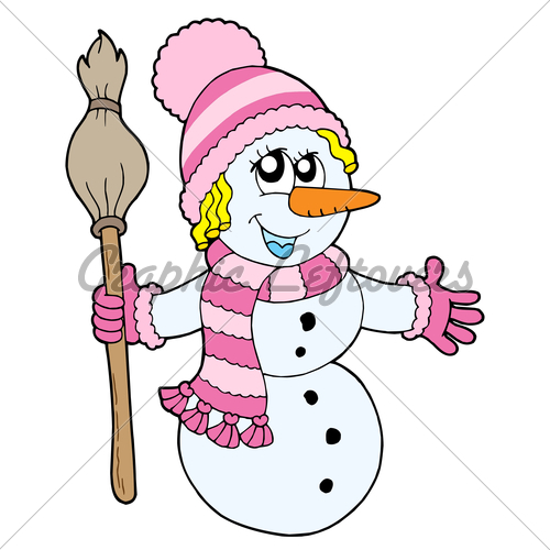 Cute Snowman Girl Vector Illustration