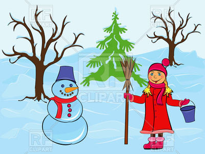Girl And Snowman Among The Trees And Snow Drifts   Cartoon Winter