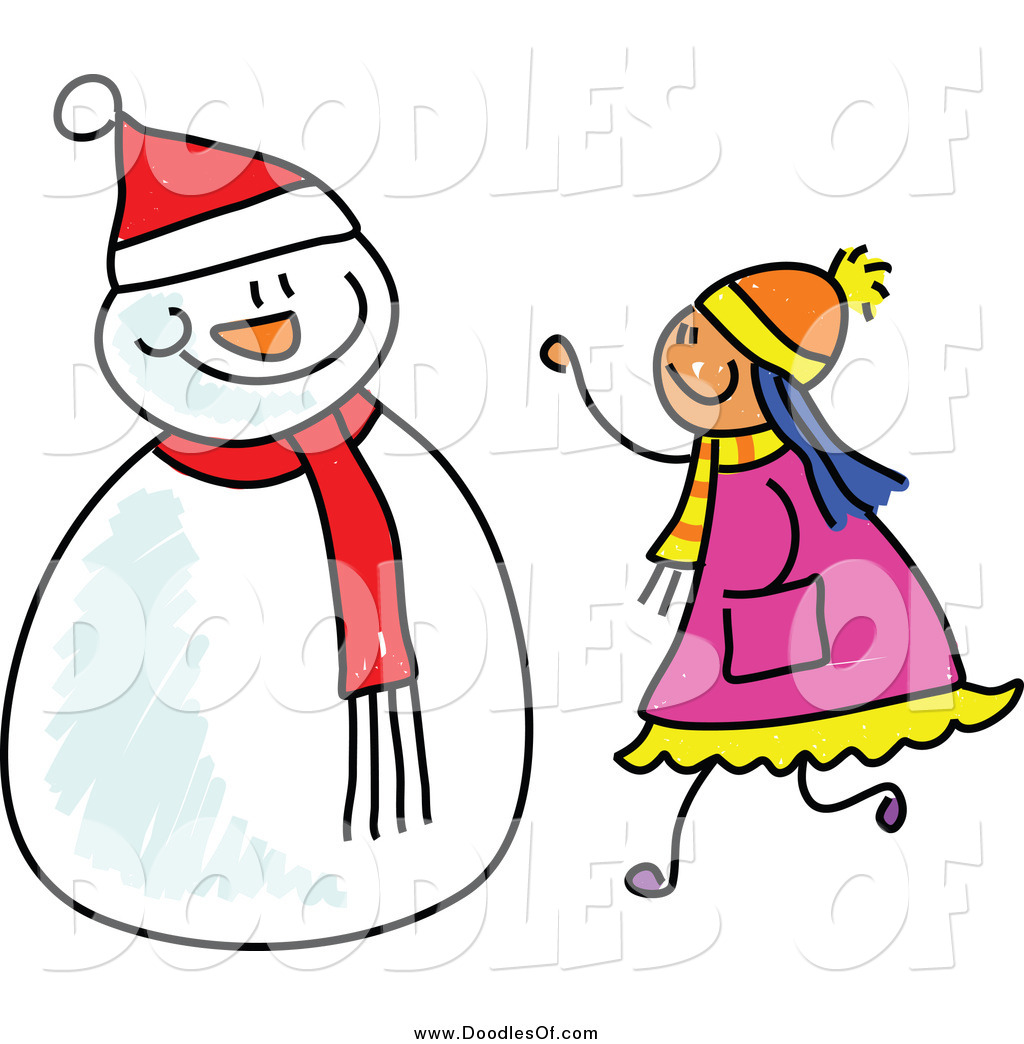 Girl And Snowman Clip Art