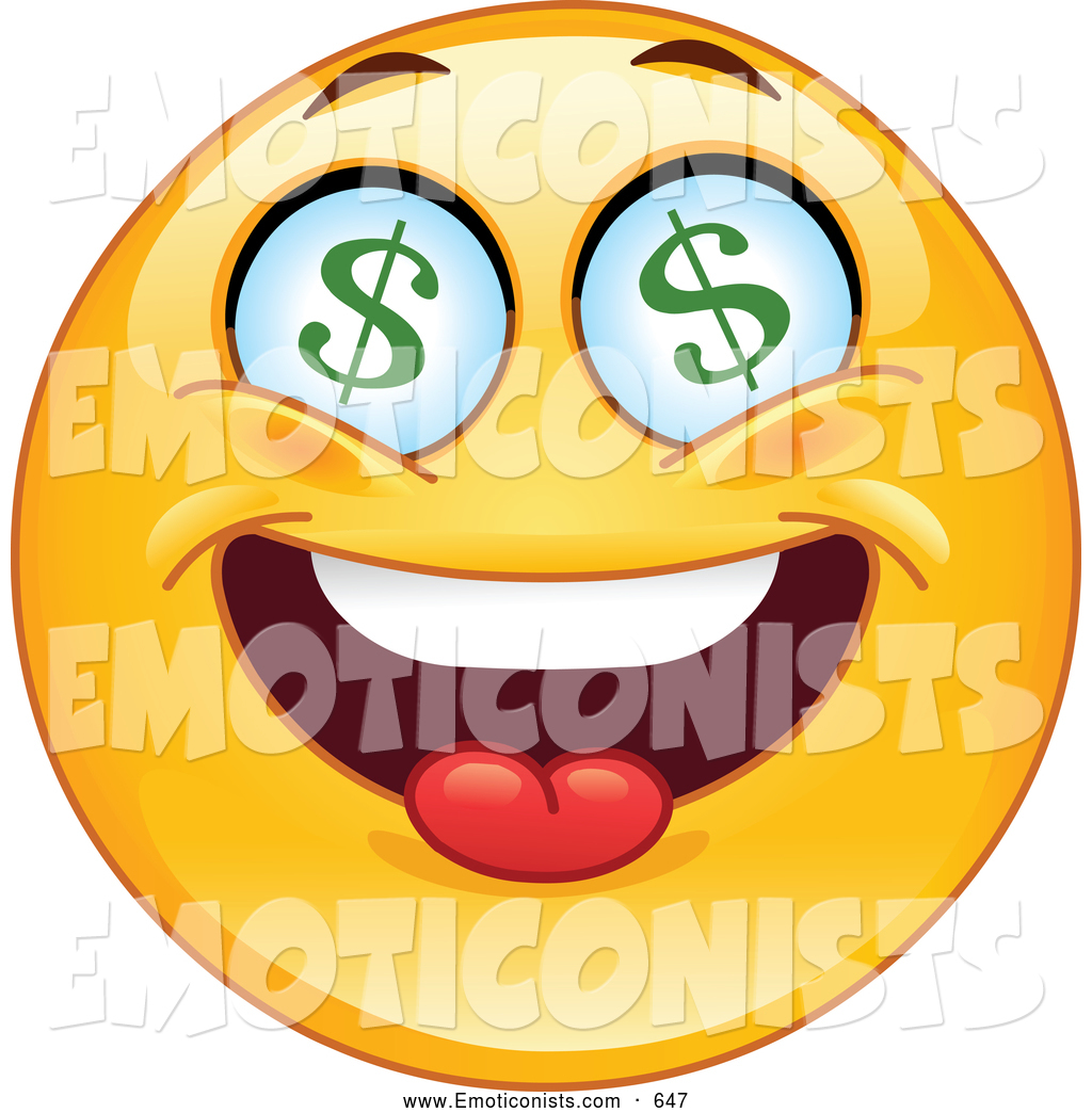 Larger Preview  Clip Art Of A Rich Greedy Emoticon With Dollar Symbol