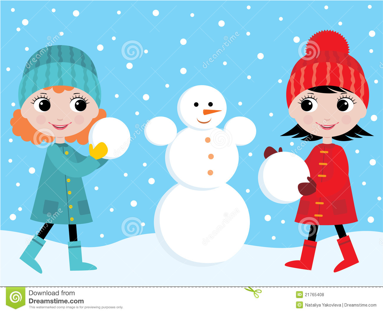 Little Girls Build The Snowman Royalty Free Stock Photos   Image