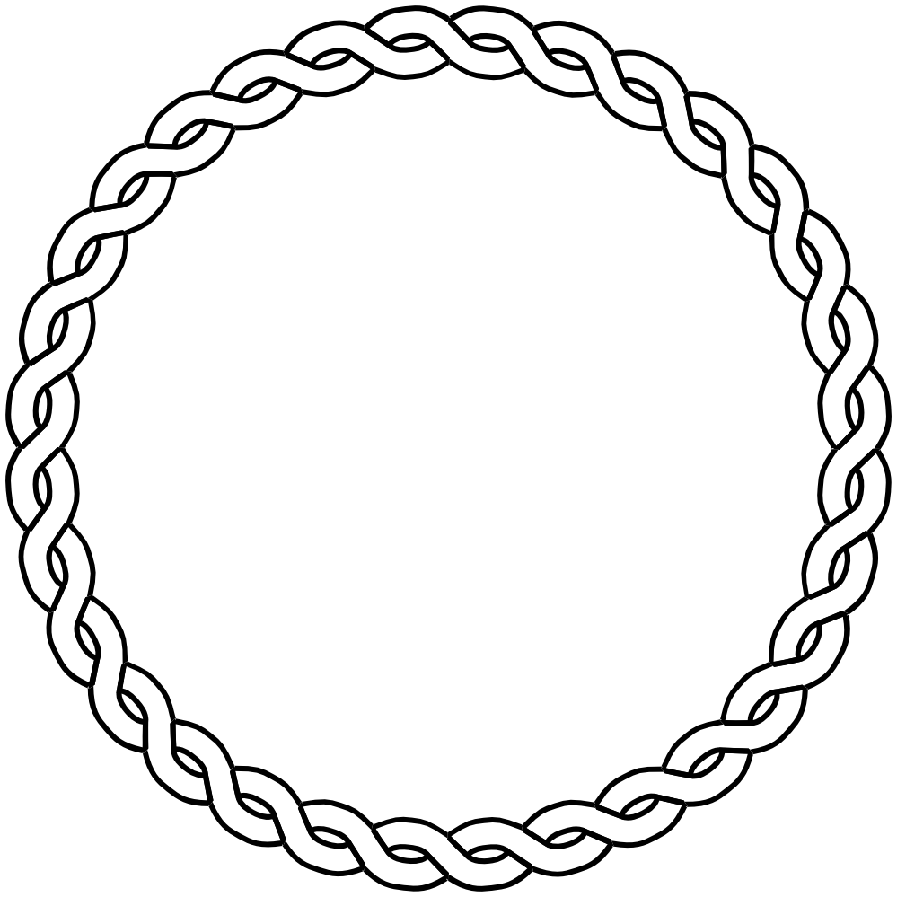 Rope Border Circle Dna Black White Line Art Coloring Book Colouring