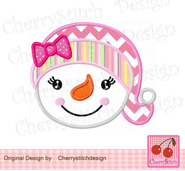 Snowman Girl With Bow Snowman Head Digital Embroidery Applique 4x4 5x
