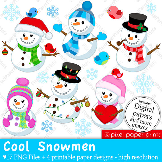 Snowmen Clip Art And Digital Paper Set By Pixelpaperprints