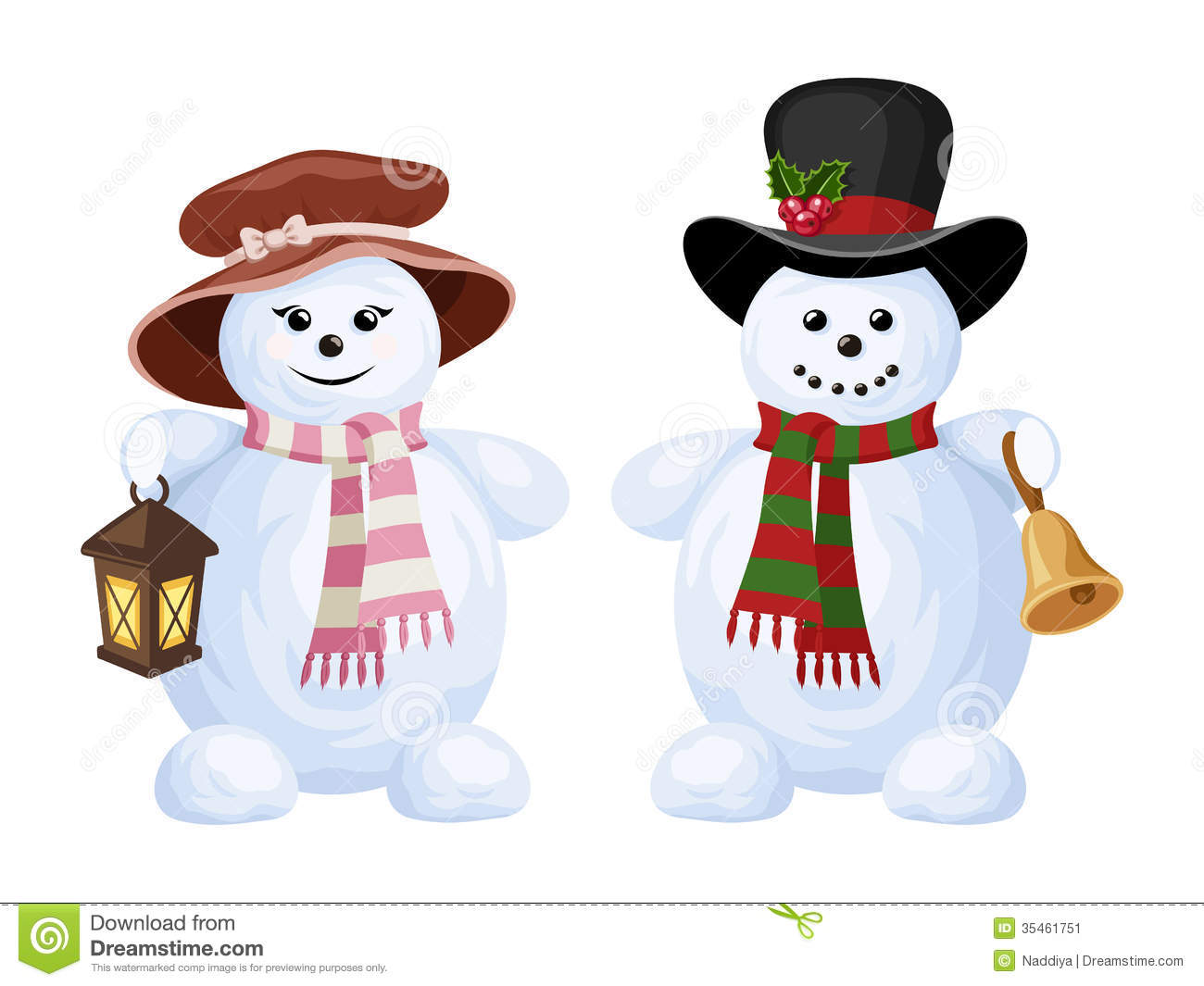 Two Christmas Snowmen  A Boy And A Girl  Stock Image   Image  35461751