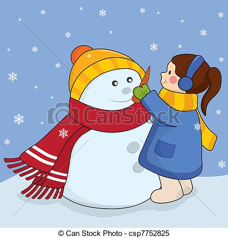 Vector   Girl With Snowman   Stock Illustration Royalty Free