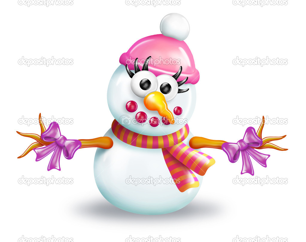 With Snowman On Christmas 10 Depositphotos Cartoon Girl Snowman
