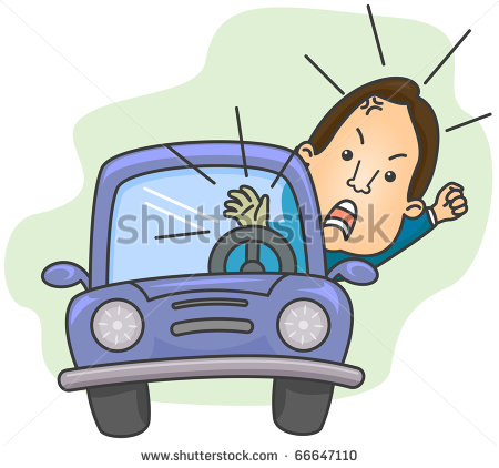 An Angry Driver Shouting While Blowing His Car S Horn   Stock Vector