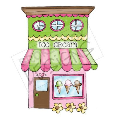 Boutique Buildings  Ice Cream Shop   Hand Drawn Clipart For Sale