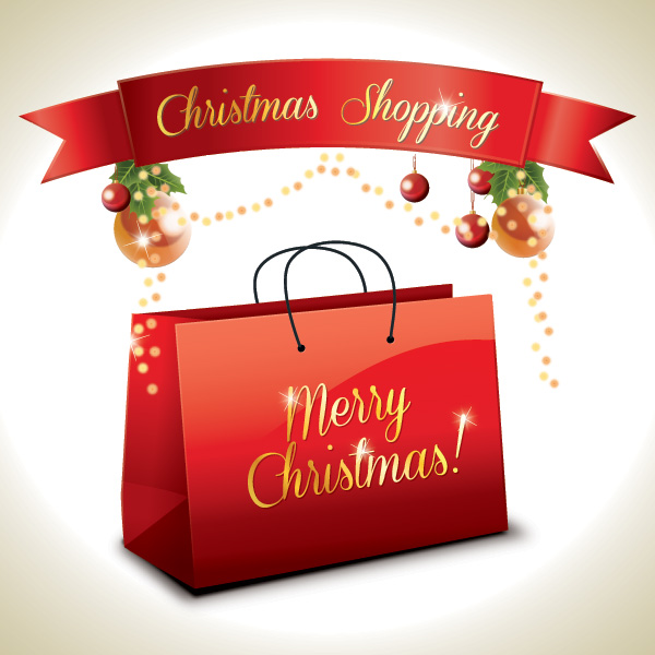 Christmas Shopping Vector Graphic   Shopping Bag Decorations
