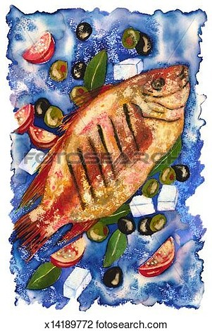 Clip Art Of Grilled Fish   Greek Seasonings X14189772   Search Clipart
