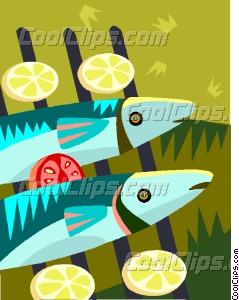 Fish On A Grill Vector Clip Art