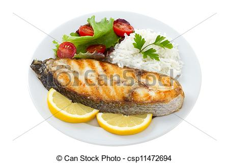 Grilled Fish With Boiled Rice On The Plate On White Background