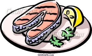 Grilled Salmon Vector Clip Art