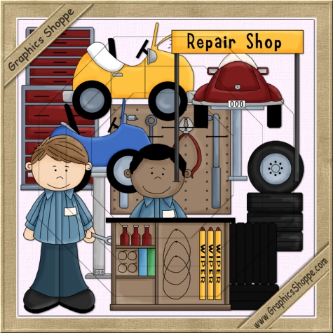 Home    Clipart4resale    Auto Repair Shop Clip Art By Clipart4resale