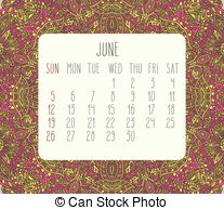June 2016 Monthly Calendar   June 2016 Vector Monthly