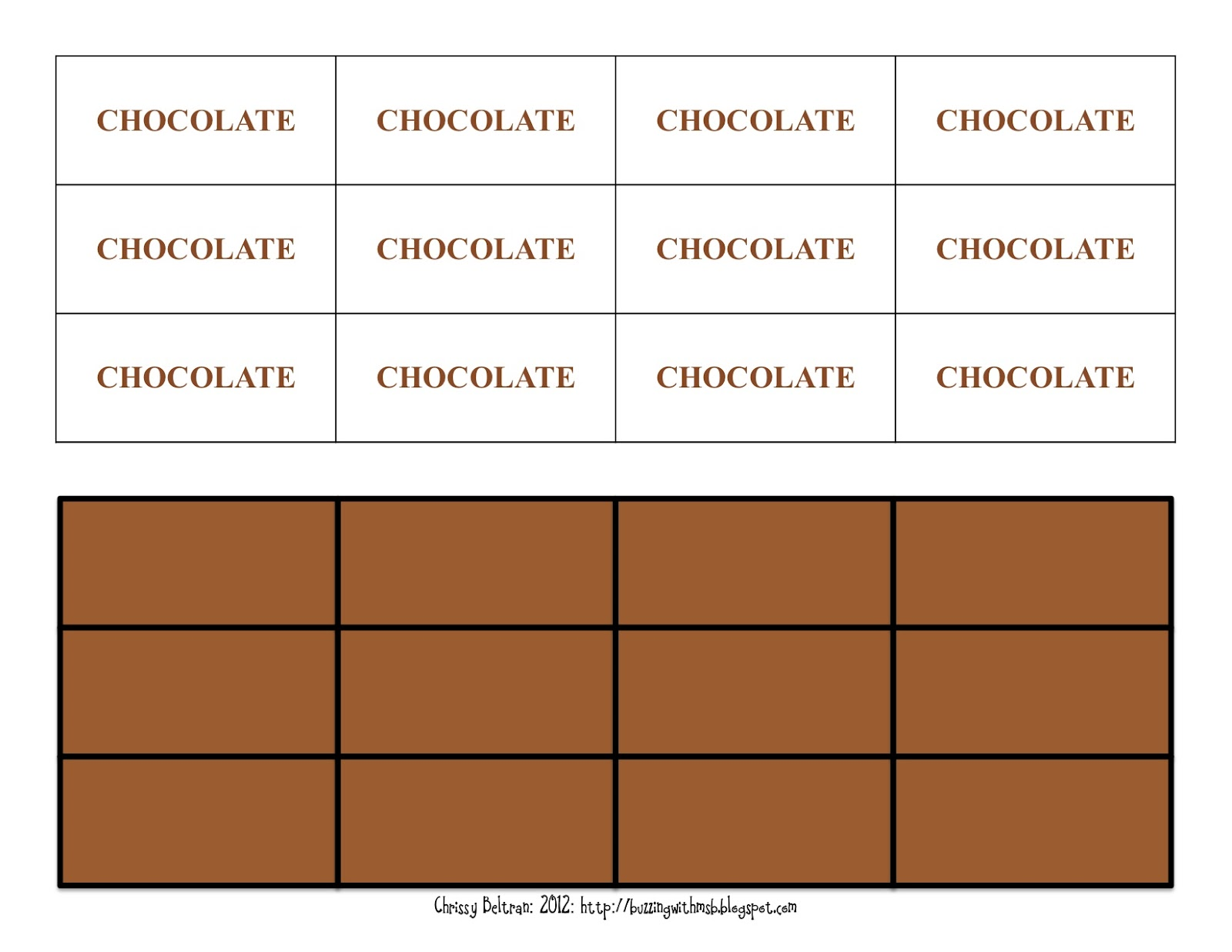 Milk Chocolate Bar Fractions Printable Fraction Chart Fraction Bar