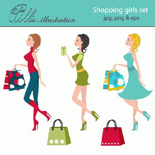 My Grafico Shopping Girls Clipart Shop Til You Drop Back