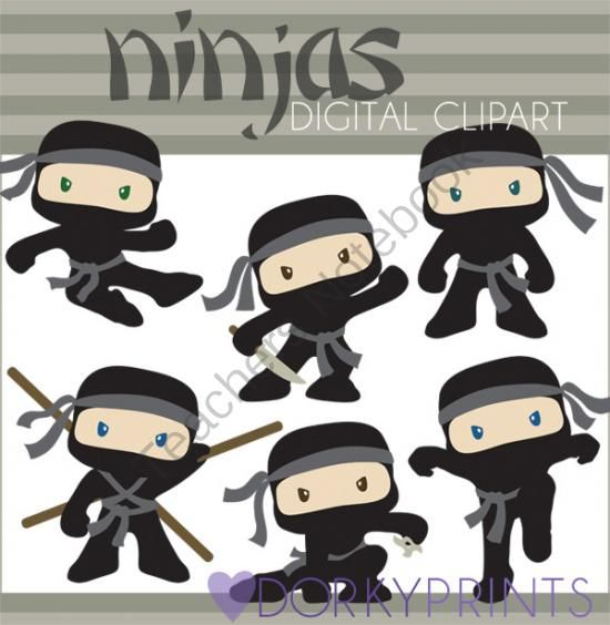 Ninja Clip Art   Boy Ninjas From Dorky Doodles On Teachersnotebook Com