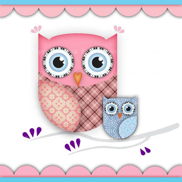 Owls Digital Clip Art  Cute Animals Birds Clipart By Inkfive  5 50