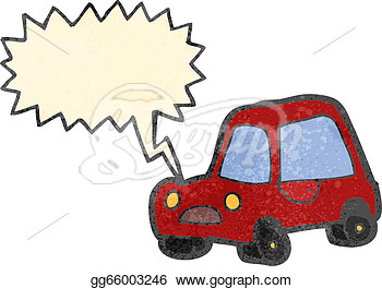 Retro Cartoon Car Honking Horn  Clipart Drawing Gg66003246