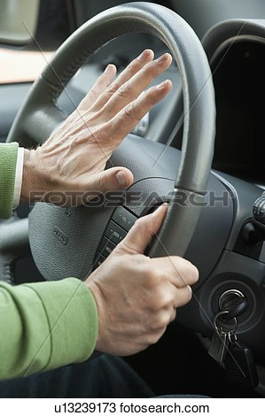 Stock Photo Of A Hand Honking A Horn In A Car U13239173   Search Stock