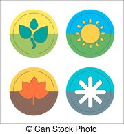 Vector Illustration Of Winter Spring Summer Autumn Symbols  Clipart